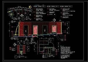 详细的景墙喷泉水池景观设计cad施工图
