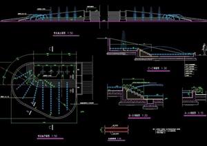 详细完整的喷泉水池景观设计cad施工图