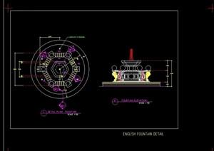喷泉设计cad平立方案图