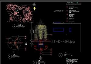 详细喷泉水景素材设计cad施工图