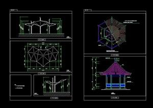 22种不同的详细的亭子设计cad施工图