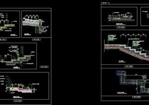 多个不同的台阶道路素材设计cad施工图