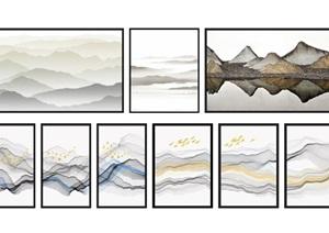 新中式山水画水墨画装饰画SU(草图大师)模型