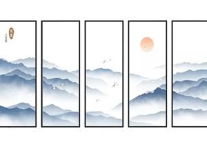 新中式山水画装饰画SU(草图大师)模型
