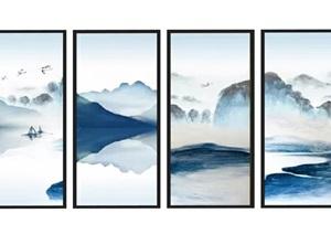 新中式水墨画山水画装饰画SU(草图大师)模型