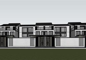 现代创意新中式曲面坡屋顶高端典雅住宅度假别墅群组团