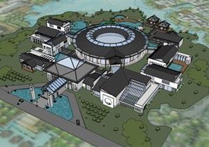 现代创意新中式生态温泉度假水上温泉酒店会所民宿