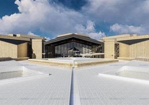 本土构造土石材料几何三角折板屋顶雕塑地景式大漠沙漠风情度假酒店会所群