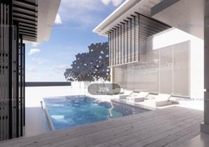 现代创意简约钢构石材草原风别墅私人合院住宅