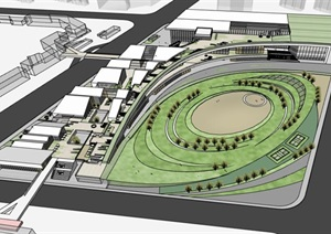 创意螺旋坡道上升式中式文化商业步行街购物综合体市民活动公园组团规划