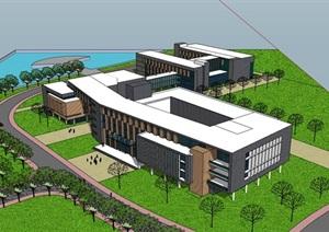 现代创意简约整体式木条纹表皮深色调教学办公行政楼综合建筑