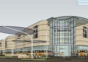某沿街商场建筑设计SU(草图大师)精细模型