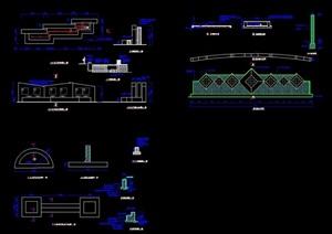 现代小区详细大门cad施工图
