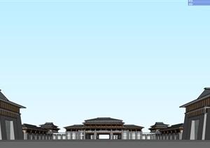 某汉唐风中式商业街 SU(草图大师)精细模型