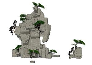 假山叠石石头植物SU(草图大师)模型