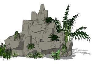 假山石头叠石植物SU(草图大师)模型