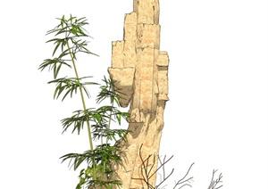 石头假山叠石竹子枯枝SU(草图大师)模型
