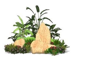 假山石头植物芭蕉旅人蕉SU(草图大师)模型