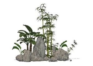 石头假山竹子造景SU(草图大师)模型