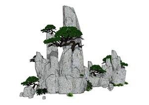 假山叠石石头松茸植物SU(草图大师)模型