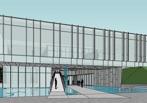 透明性朦胧建筑表皮底层架空式社区图书馆居民儿童活动中心综合体