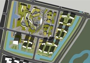 现代创意参数化曲线式有机地景式城市档案规划博物展览馆