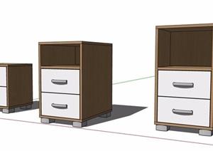 三款现代风格床头柜素材SU(草图大师)模型