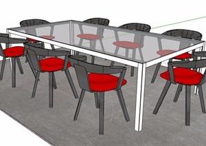 现代风格玻璃材质会议桌椅SU(草图大师)模型