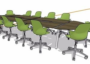 现代风格折叠式会议桌椅组合SU(草图大师)模型