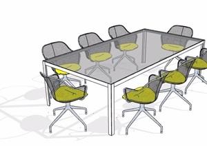 简约风玻璃桌会议桌椅SU(草图大师)模型