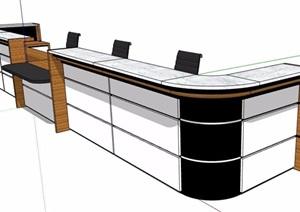 现代风格商务服务台前台设计SU(草图大师)模型