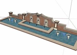 欧式风格砖砌景墙水池设计SU(草图大师)模型