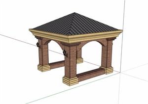 欧式风格详细的亭子及坐凳SU(草图大师)模型