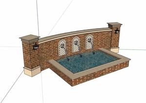 欧式风格详细的景墙水池SU(草图大师)模型