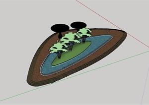 详细的水池素材设计SU(草图大师)模型