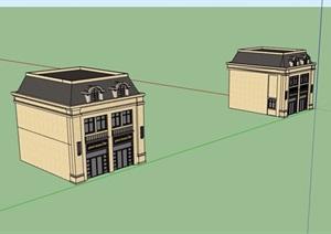 法式风格两层详细的商业楼SU(草图大师)模型