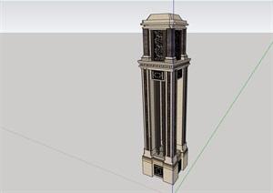 法式风格详细完整的景观灯柱SU(草图大师)模型
