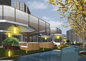 创意伞型悬挑钢木结构穿孔金属表皮公园茶室售楼处商业文化示范区