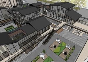 现代创意新中式坡屋顶钢木构格栅高端精品商业组团内街风情步行街