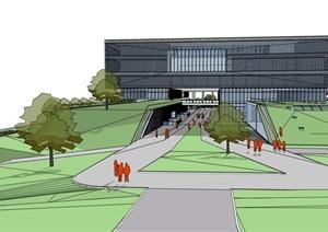 现代大型几何地景嵌入式透明性表皮市民中心文化展览馆