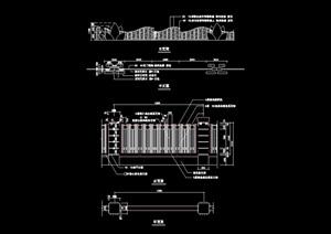 现代详细的围墙cad施工图
