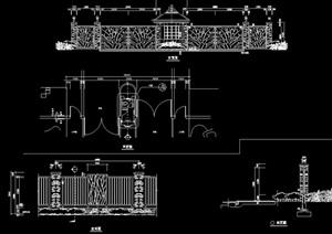 欧式风格铁艺围墙大门设计cad施工图