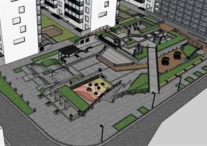 街边创意架空式活动休闲市民广场