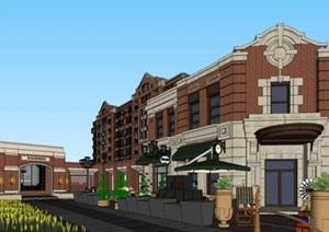 现代创意褐石红砖砖砌镂空花纹表皮住宅区售楼部示范区文化展示商业活动中心