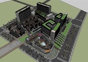 现代住宅公寓酒店中式钢木精品商业组团步行街综合体