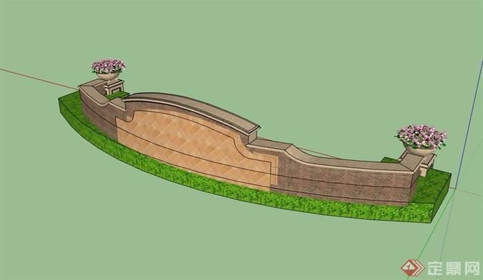 欧式风格经典的砖砌景墙设计su模型