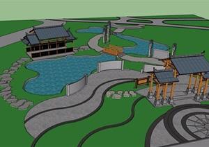 古典中式风格大门素材设计SU(草图大师)模型含亭廊园桥