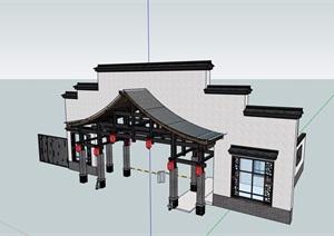 中式风格详细的大门素材设计SU(草图大师)模型