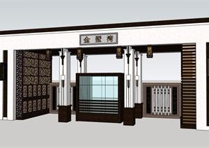 新古典风格小区别墅大门素材设计SU(草图大师)模型