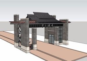 中式风格出入口大门素材设计SU(草图大师)模型